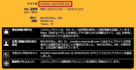 マクロミルSSL暗号化通信